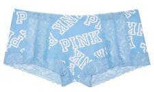 Victoria Secret PINK Lace Trim Boyshort Periwinkle Blue Allover Logo sz L