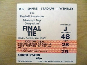 Tickets- 1969 FA Cup FINAL- LEICESTER CITY v MANCHESTER CITY, 26 April (Org,Exc)