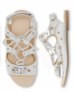 NWT Gymboree Jump Into Summer Silver Star Sandals Shoes Girls Size 7