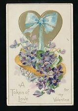 Greetings VALENTINE Flowers Pansies Heart Tuck #11 Embossed PPC