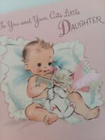 Vtg BABY Gives Bottle to KITTEN Congrats on DAUGHTER Norcross Pink GREETING CARD