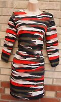 H&M ABSTRACT ORANGE MULTI COLOUR LONG SLEEVE A LINE SLIP BAGGY TUNIC DRESS 10 S
