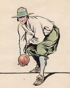 JAMES THORPE 1876-1949 FINE WATERCOLOUR 16th / 17th CENTURY BOWLS PLAYER BOWLING