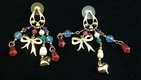 VIntage Monet Holiday Heart Bow Earrings Pierced Dangle Gold Beads