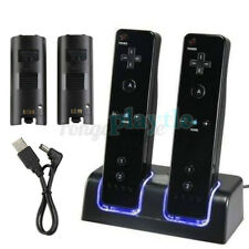 For Nintendo Wii Controller Charger Charging Dock Station+2 Rechargeable Battery