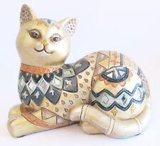 Cat Figurine Multi coloured Gold Mirror Highlights