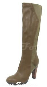 Tsubo Womens Olive Green Leather Side Zipper Knee High tALL Boots Shoes 10
