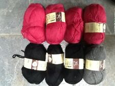 400 gms assorted Lee target double knitting wool: mulberry pink, black  and grey