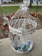 ARTIST MADE VICTORIAN MERMAID AND FLUORITE CRYSTAL BIRD CAGE STUNNING!