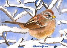 ACEO Limited Edition- Sparrow in snow covered branches, Bird art, Gift for bir