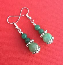 NEW! Green Aventurine Gemstone Handmade Drop Women's Earrings - Aussie Seller!!!