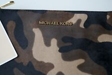 NEW AUTHENTIC MICHAEL Michael Kors  Bedford Camo Calf-Hair Zip Clutch / BAG