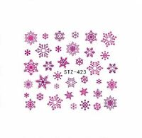 Nail Art Water Decals Stickers Christmas Pink Purple Snowflakes Gel Polish 423PP