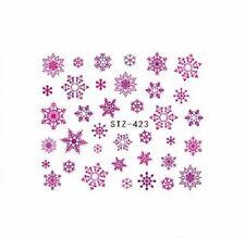 NAIL ART ACQUA Decalcomanie Adesivi Natale Rosa Viola Fiocchi di neve SMALTO GEL 423pp