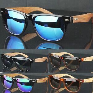 Square Frame Wood Bamboo Temples Mirror Lenses  Womens Mens Sunglasses UV400