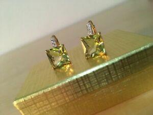 4CT Princess Cut Yellow Citrine Tiny Drop Dangle Earrings 14K Yellow Gold Finish