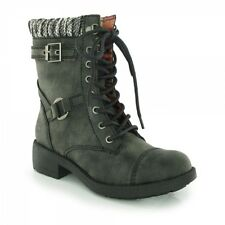 Rocket Dog THUNDER Ladies Womens Faux Leather Lace Up Biker High Ankle Boots