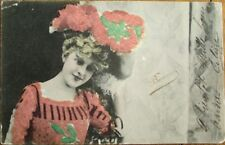 Applied Glass Beads 1904 French Novelty Postcard - Artist/Actress/Woman in Hat