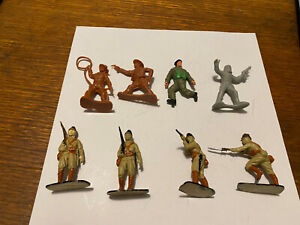 Eight random plastic 1/35 scale soldiers Japanes, Cowboys, British infantry, ast