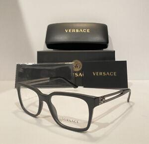 Versace Men's VE3218 5122 Black & Silver Eyeglasses Optical Frames W/ Case