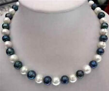 """NATURAL 8-9mm Black & White Akoya Cultured Pearl Fashion Necklaces 18"""""""