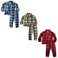 Boys Kids Pyjamas Long Sleeve Top Bottom Set Nightwear PJs Lounge Fleece Button