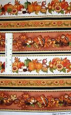 Harvest Fabric - Shade of Autumn Chipmunk & Pumpkin Stripe - RJR Cotton YARD