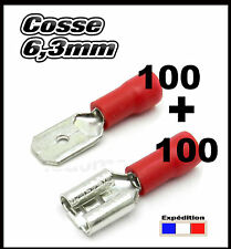 moto CRF63//100# Cosse rouge femelle 6,3mm  100pcs fiche auto