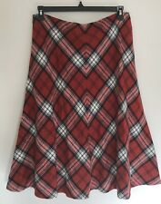 JNY Long Lined Plaid Argyle Wool Blend Skirt A-line Sz 14 Black Red White
