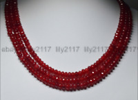 """Hot 17-19"""" 3 Rows Natural 4X6mm Faceted Red Ruby Rondelle Beads Gems Necklaces"""