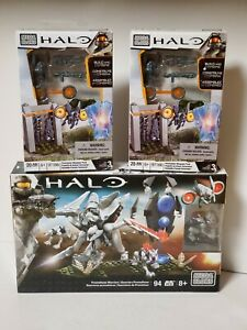3 FACTORY SEALED HALO MEGA BLOKS SETS: PROMETHEAN WARRIORS & FORERUNNER WEAPONS