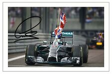 LEWIS HAMILTON 2014 WORLD CHAMPION MERCEDES F1 SIGNED PHOTO PRINT FORMULA ONE