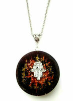Orgone Orgonite pendant Hand Of Fatima, stones and crystals, protection, unisex