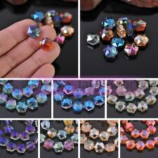 5/20pcs Hexagon Faceted Crystal Glass Loose Spacer Beads 12X10.5X7mm Wholesale