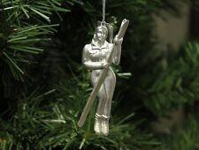 Woman / Female Skier, Metal-Charm Christmas Ornament, Skiing