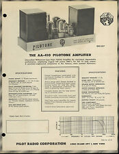 Suoer Rare Pilot Pilotone AA-410/420 Amplifier Dealer Brochure With Specs