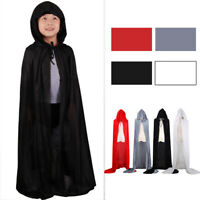 Kids Boy Cosplay Party Halloween Velvet Hooded Cape Cloak Coat Shawl Fancy Ball