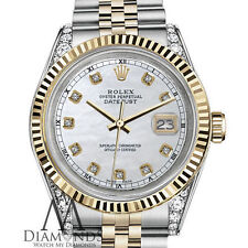 Rolex 31mm Datejust 2 Tone 18K White MOP Mother of Pearl Diamond Numbers & Lugs