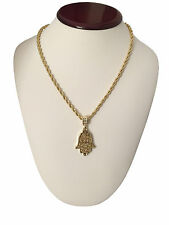 "Mens 14K Gold GP Hip Hop Hand Of God Hamsa Pendant Necklace w/ 30"" Rope Chain"