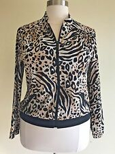 ZENERGY CHICO'S Size 2 Large Brown Zebra Leopard Print Silky Zipper Jacket