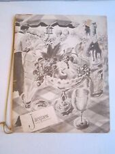 "VINTAGE JAQUES FRENCH RESTAURANT MENU - 12 1/2"" X  10"" CLOSED MENU -TUB BN-14"