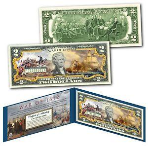 WAR OF 1812 Second War of Independence USA vs UK Genuine Legal Tender US $2 Bill