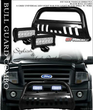 FOR 04-18 FORD F150 NON-ECOBOOST BLACK BULL BAR BUMPER GUARD+36W CREE LED LIGHTS