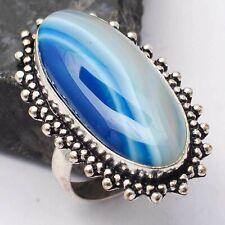 Botswana Agate Ethnic Handmade Ring Jewelry US Size-7.25 AR 64381