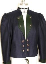 "BAVARIA Loden WOOL JACKET Designer Winter BLUE German Women Short Coat B41"" 10 M"