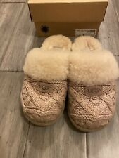 Ugg Light Pink Cozy Cable Slippers Sherpa Lining 7