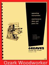 Greaves Cincinnati 2H Plain Universal Milling Machine Operator Parts Manual 1265