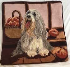 "Beautiful Bearded Collie Needlepoint 14"" x 14"" Velveteen Back w/ Zipper"