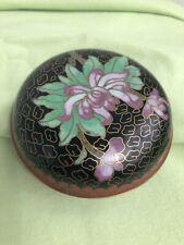 "Vintage Round Cloisonne Enamel 3"" Diameter Trinket Box w/ Lid Lotus Flower Motif"