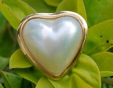 Vintage 14k Yellow Gold Mabe Pearl Heart Ring Estate Jewelry 3.8 gm